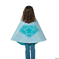 Teal & White Superhero Reversible Cape