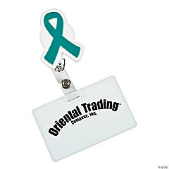 Teal Awareness Ribbon Badge Holders