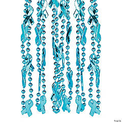 Teal Awareness Ribbon Beaded Necklaces