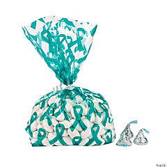 Teal Awareness Ribbon Cellophane Bags
