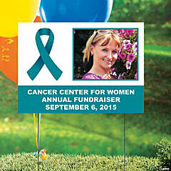 Teal Awareness Ribbon Custom Photo Yard Sign