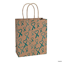 Teal Awareness Ribbon Kraft Paper Bags