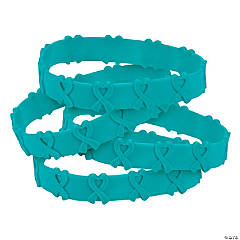 Teal Awareness Ribbon Pop-Out Bracelets