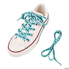 Teal Awareness Ribbon Shoelaces