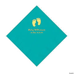 Teal Baby Feet Personalized Napkins with Gold Foil - Luncheon