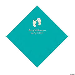 Teal Baby Feet Personalized Napkins with Silver Foil - Luncheon