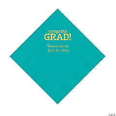 Teal Congrats Grad Personalized Napkins with Gold Foil - Luncheon