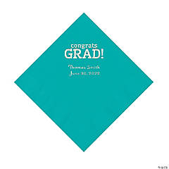 Teal Congrats Grad Personalized Napkins with Silver Foil - Luncheon