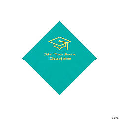 Teal Grad Mortarboard Personalized Napkins with Gold Foil – Beverage