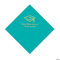 Teal Grad Mortarboard Personalized Napkins with Gold Foil – Luncheon