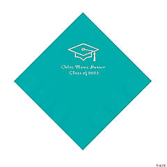 Teal Grad Mortarboard Personalized Napkins with Silver Foil – Luncheon