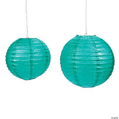 Teal Hanging Paper Lanterns