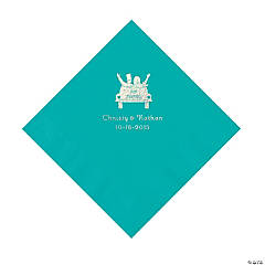 Teal Just Married Personalized Napkins with Silver Foil - Luncheon