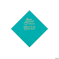 Teal Lagoon Always & Forever Personalized Napkins with Gold Foil - Beverage
