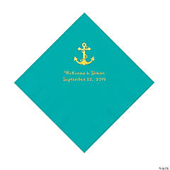 Teal Lagoon Anchor Personalized Napkins with Gold Foil - Luncheon