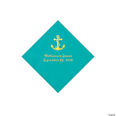 Teal Lagoon Anchor Personalized Napkis with Gold Foil - Beverage