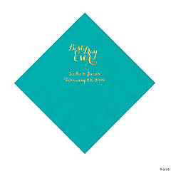 Teal Lagoon Best Day Ever Personalized Napkins with Gold Foil - Luncheon