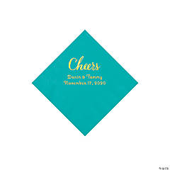 Teal Lagoon Cheers Personalized Napkins with Gold Foil - Beverage