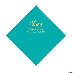 Teal Lagoon Cheers Personalized Napkins with Gold Foil - Luncheon