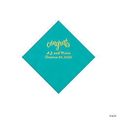 Teal Lagoon Congrats Personalized Napkins with Gold Foil - Beverage