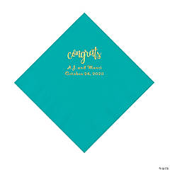 Teal Lagoon Congrats Personalized Napkins with Gold Foil - Luncheon