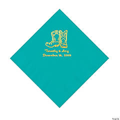 Teal Lagoon Cowboy Boots Personalized Napkins with Gold Foil - Luncheon