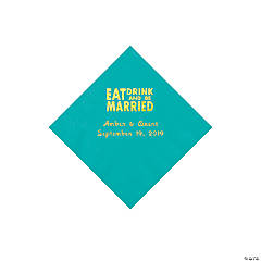 Teal Lagoon Eat Drink & Be Married Personalized Napkins with Gold Foil - Beverage