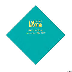 Teal Lagoon Eat Drink & Be Married Personalized Napkins with Gold Foil - Luncheon