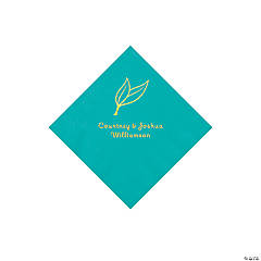 Teal Lagoon Heart Leaf Personalized Napkins with Gold Foil - Beverage
