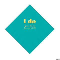 Teal Lagoon I Do Personalized Napkins with Gold Foil - Luncheon