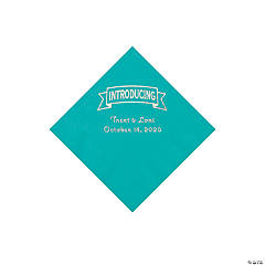 Teal Lagoon Introducing Personalized Napkins with Silver Foil - Beverage