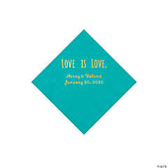 Teal Lagoon Love is Love Personalized Napkins with Gold Foil - Beverage