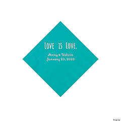 Teal Lagoon Love is Love Personalized Napkins with Silver Foil - Beverage