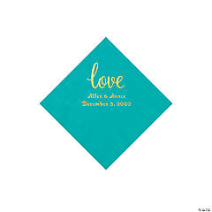 Teal Lagoon Love Script Personalized Napkins with Gold Foil - Beverage