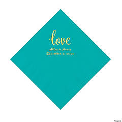 Teal Lagoon Love Script Personalized Napkins with Gold Foil - Luncheon