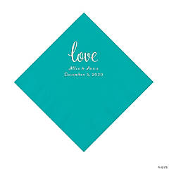 Teal Lagoon Love Script Personalized Napkins with Silver Foil - Luncheon