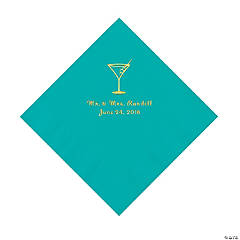 Teal Lagoon Martini Glass Personalized Napkins with Gold Foil - Luncheon