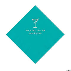 Teal Lagoon Martini Glass Personalized Napkins with Silver Foil - Luncheon