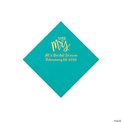 Teal Lagoon Miss to Mrs. Personalized Napkins with Gold Foil - Beverage