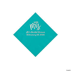 Teal Lagoon Miss to Mrs. Personalized Napkins with Silver Foil - Beverage