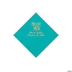 Teal Lagoon Mr. & Mrs. Personalized Napkins with Gold Foil - Beverage