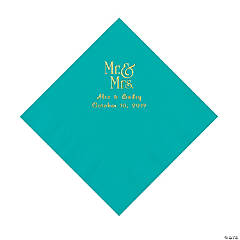 Teal Lagoon Mr. & Mrs. Personalized Napkins with Gold Foil - Luncheon