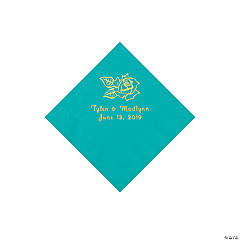 Teal Lagoon Rose Personalized Napkins with Gold Foil - Beverage