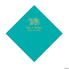 Teal Lagoon Rose Personalized Napkins with Gold Foil - Luncheon