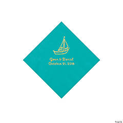 Teal Lagoon Sailboat Personalized Napkins with Gold Foil - Beverage
