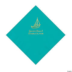 Teal Lagoon Sailboat Personalized Napkins with Gold Foil - Luncheon