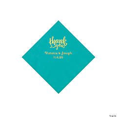 Teal Lagoon Thank You Personalized Napkins with Gold Foil - Beverage