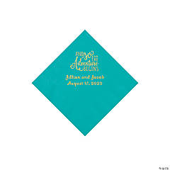 Teal Lagoon The Adventure Begins Personalized Napkins with Gold Foil - Beverage