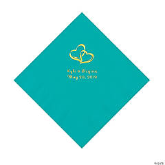 Teal Lagoon Two Hearts Personalized Napkins with Gold Foil - Luncheon