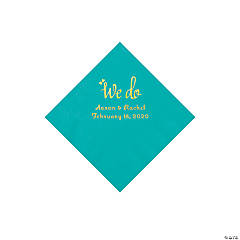 Teal Lagoon We Do Personalized Napkins with Gold Foil - Beverage